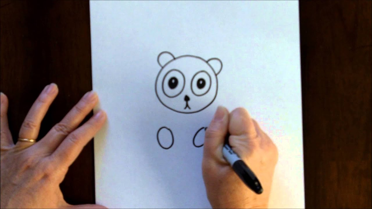 free art lesson for kids how to draw a cartoon panda bear baby easy drawing tutorial youtube