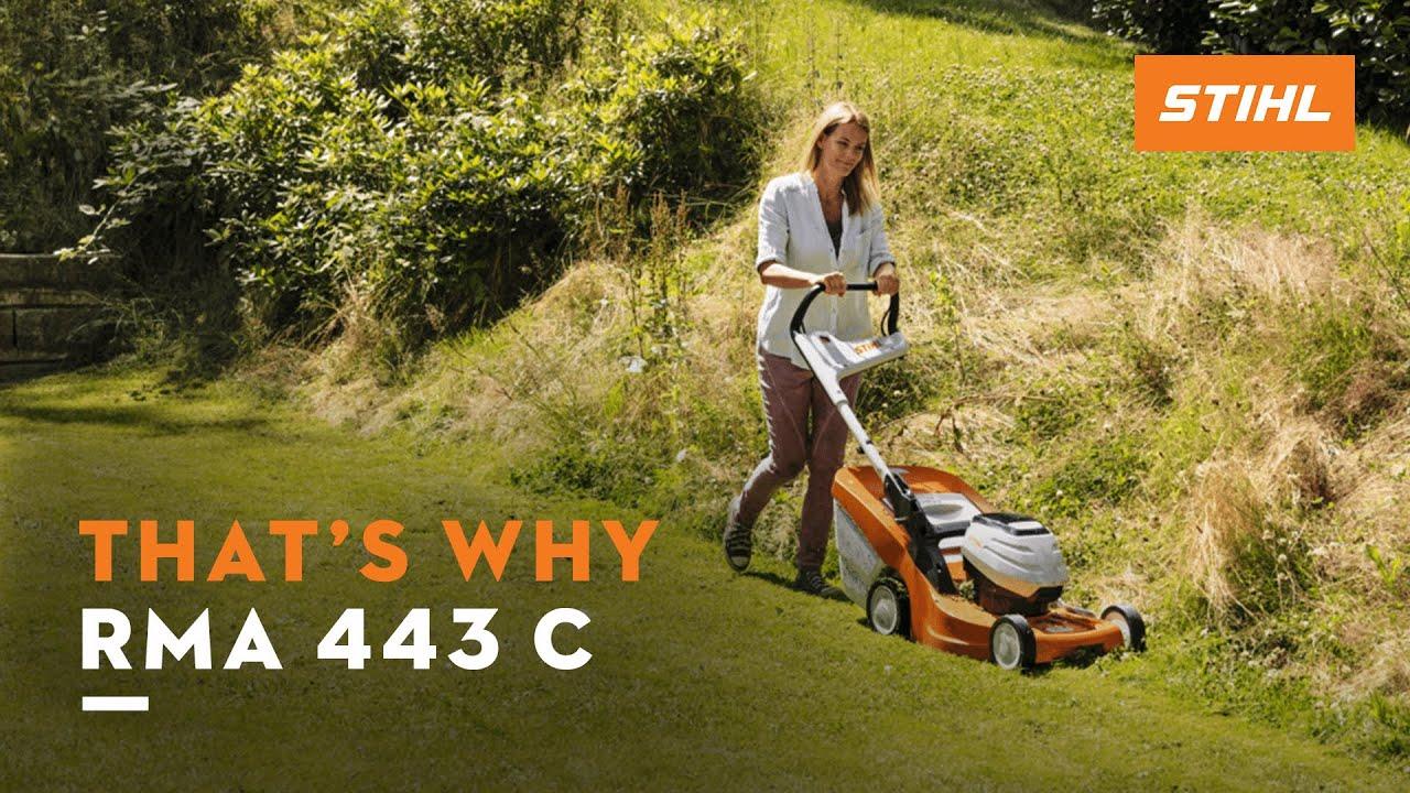The STIHL RMA 443 C battery-powered lawn mower