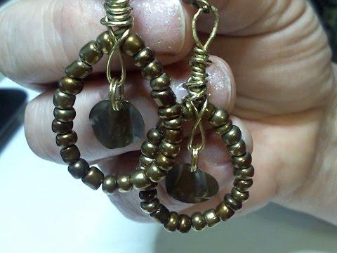 Glass Seed Bead Wire Wrap Earrings.