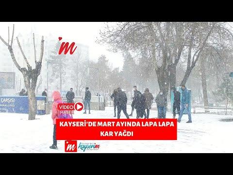 Kayseri'de Mart ayında lapa lapa kar yağdı