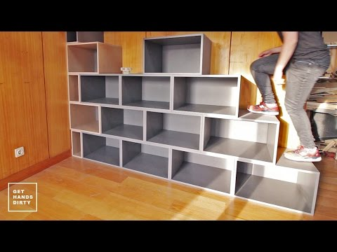 fundst ck 13 ein regal aus valchromat als treppe f r ein hochbett holzhandwerk. Black Bedroom Furniture Sets. Home Design Ideas