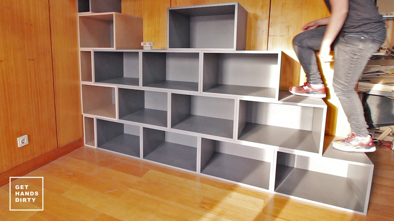 Bed Over Stair Box With Storage And Stairs: Loft Bed // Work Space : Staircase Shelf