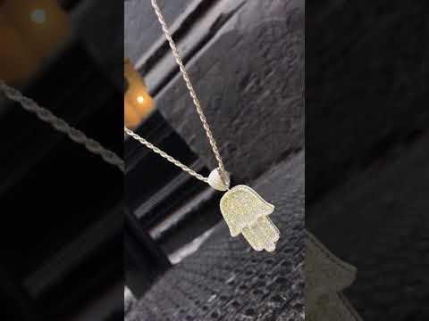 Full Size Hamsa Pendant - Silver