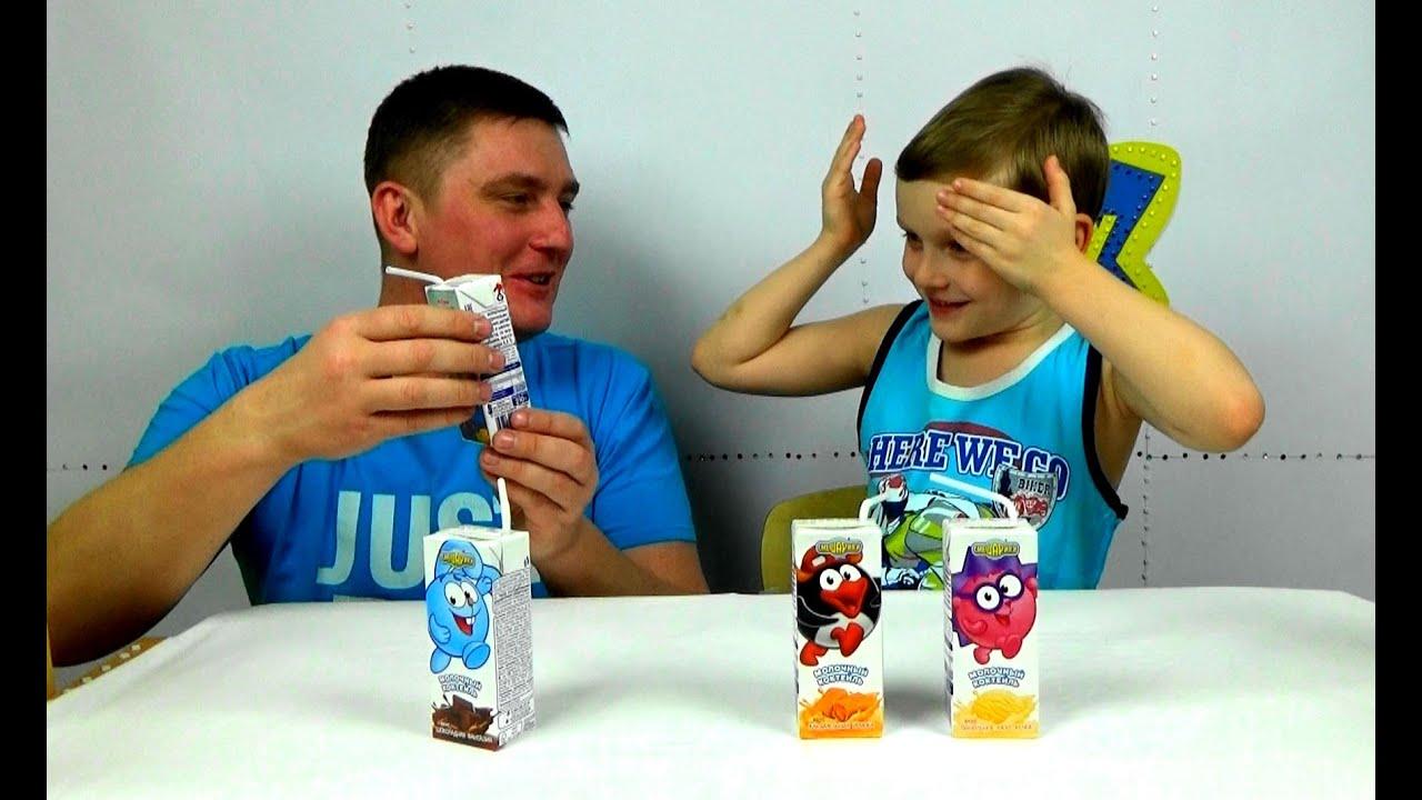Детский канал.Пробуем молоко Смешарики с разными вкусами. Challenge. Try milk Smeshariki .