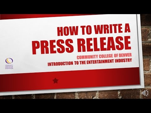 How To Write A Press Release | Community College of Denver