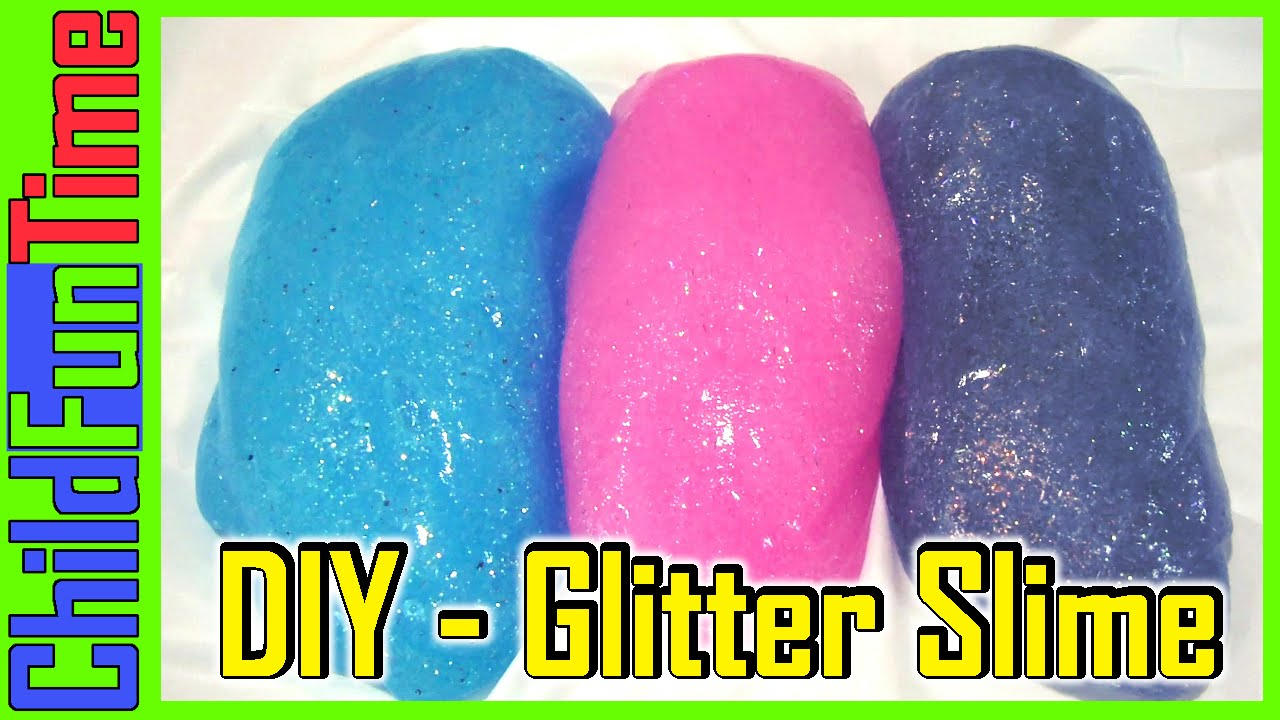 kids and dad making glitter slime with borax and glue blue pink
