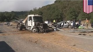 California traffic accident: big-rig truck causes 10-vehicle pile-up on Santa Cruz Highwway 17