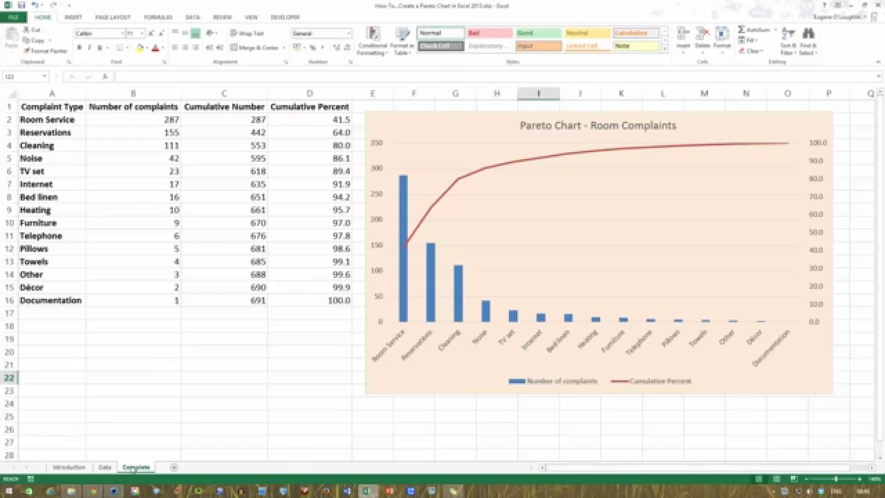 How To Create A Pareto Chart In Excel 2013 Youtube