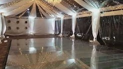 Clear Wedding Tent Rental- Clear Plexy pool cover dance floor. Fiesta Solutions Event Rentals