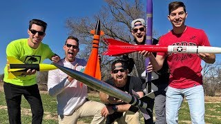 Launching model rockets is our new favorite hobby! ▻ Click HERE to subscribe to Dude Perfect! http://bit.ly/SubDudePerfect ▻ Subscribe and SHARE this video ...