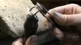 Gold ring handmade diamonds claw set