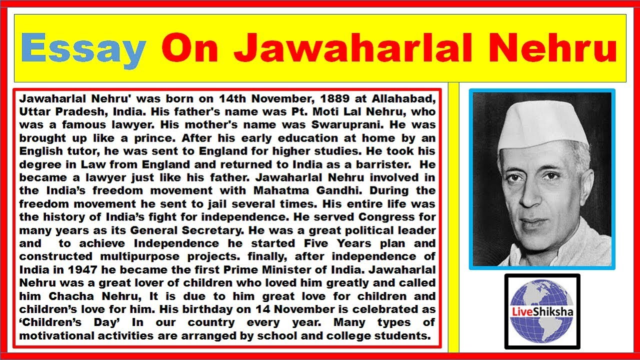 Long and Short Essay on Jawaharlal Nehru in English