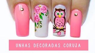 Unhas Decoradas Coruja - owl nail art - Aline Makelyne
