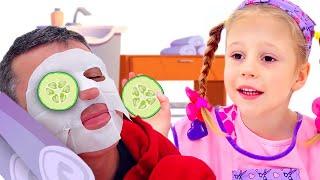 Nastya ve baba Aladdin'in sihirli lambasıyla oynuyor