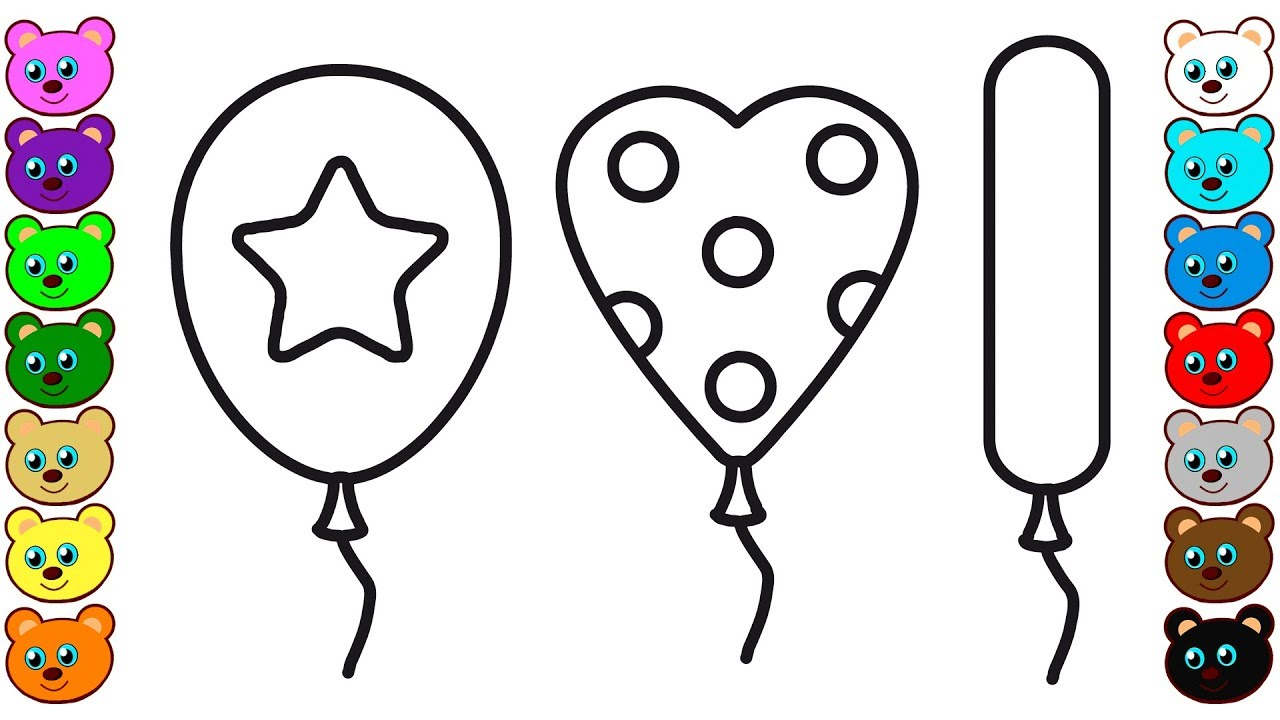 Coloring For Children With Colorful Balloons