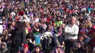 Encuentro abierto con Pablo Iglesias y Pablo Echenique en la fiesta de la primavera en Madrid