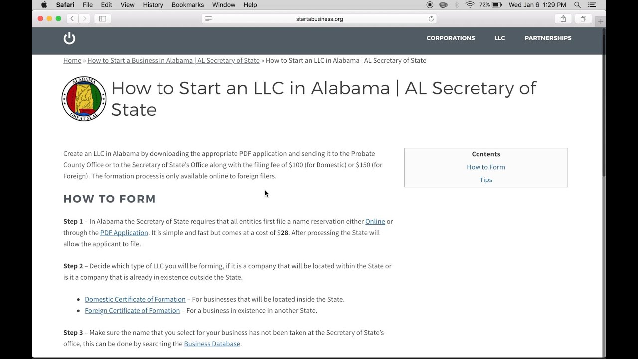 How To Start An Llc In Alabama Al Certificate Of Formation Youtube
