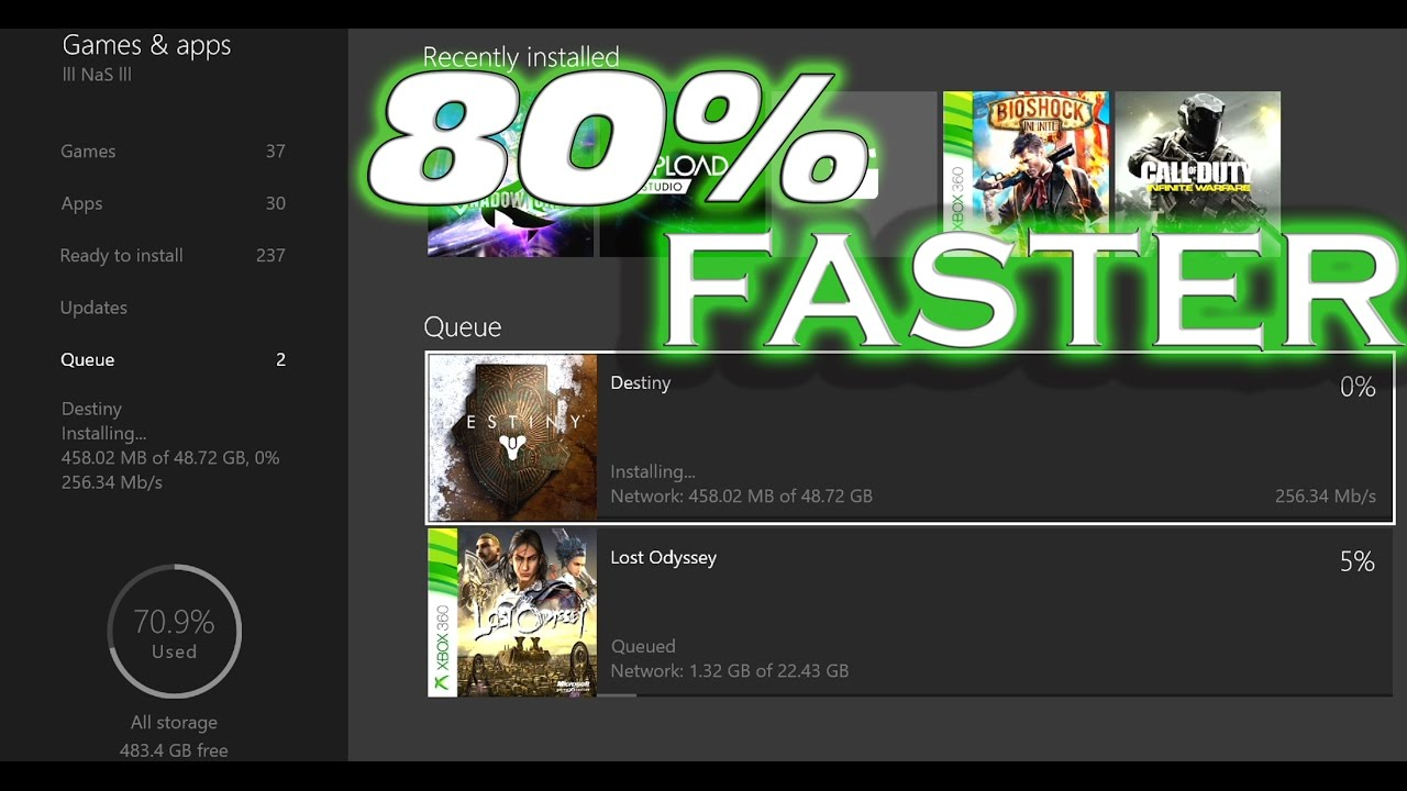 Xbox One Dashboard 80 Faster Download Speed Youtube