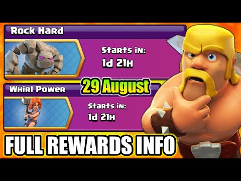 Upcoming Rock Hard & Whirl Power Event Full REWARDS Information I Clash Of Clans 2018