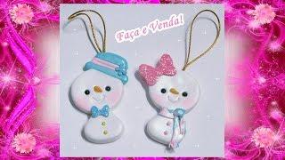 Especial de Natal Pingentes – Bonecos de Neve em Biscuit