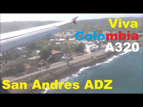 VIVA COLOMBIA A320 ATERRIZANDO EN SAN ANDRES ISLA COLOMBIA