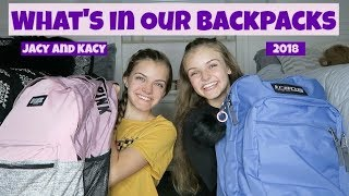 What's In Our Backpacks 2018 ~ Jacy and Kacy