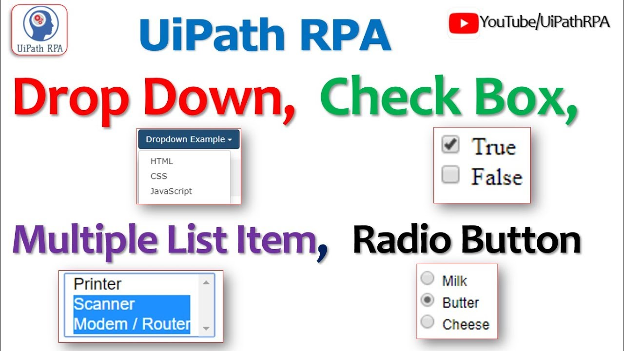 Work with Drop Down Button, Check Box, Radio Button and Select Multiple  Items in UiPath