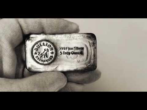 5 oz Bullion Exchanges Silver Hand Poured Bar .999 Fine (Antiqued)