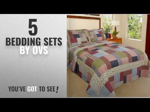 Top 10 Ovs Bedding Sets [2018]: 3 Piece Beautiful Blue Pink Red Green White Queen Quilt Set, Tartan