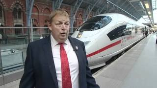 First German ICE train into St.Pancras, Eurostar competition (19Oct10)