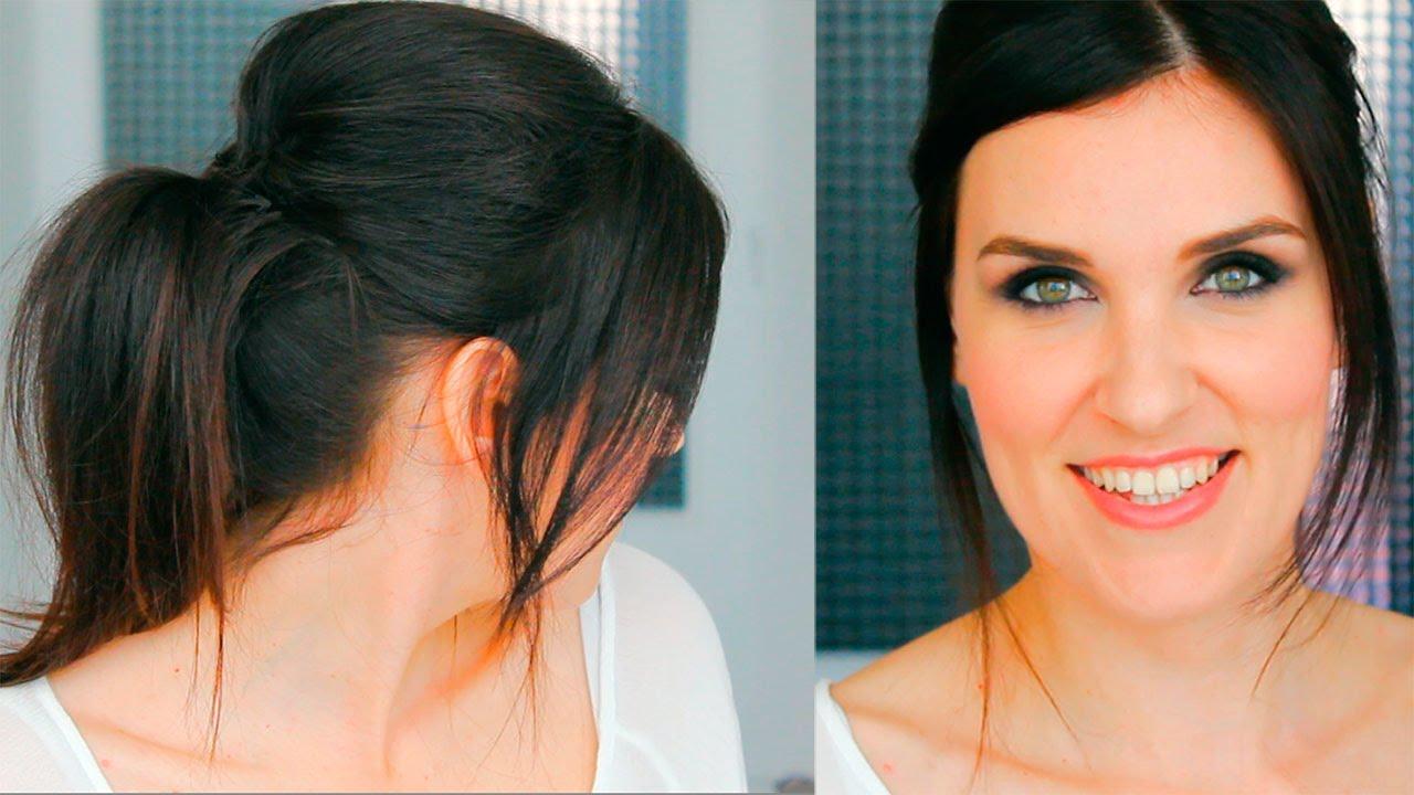 peinado fcil para fiestas y eventos recogido con el cabello liso para navidad - Peinados Lisos