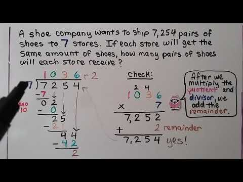 4th Grade Math 4.11, Divide By 1 Digit Numbers Check With Multiplication