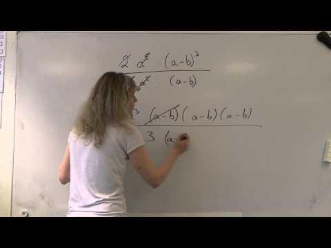 Simplify 2a^5.(a-b)^3/(6a^2.(a-b)) Algebra Rocks