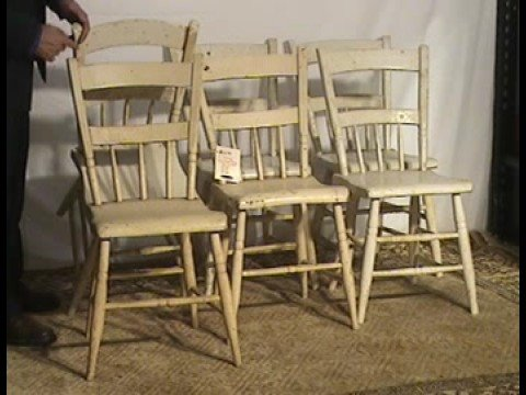 Six Half Spindle Back White Primitive Dining Chairs Bu53