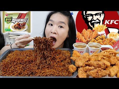 KFC & BLACK BEAN NOODLES FEAST!! Korean Ramen Jajangmyeon, Spicy Fried Chicken | Eating Show Mukbang
