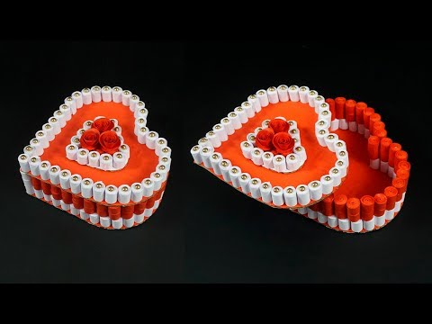 HEART Quilling Gift Box Ideas | Diy Heart for Valentine | Heart Box From Waste Papers