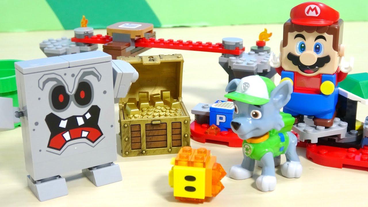パウ・パトロール 粘土でマリオ レゴ バッタンのマグマ チャレンジを組み立てて遊んだよ!宝箱に入ったトミカをゲット