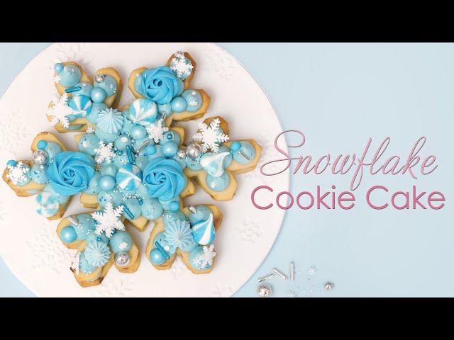 Giant Snowflake Sugar Cookie Cake with Festive Meringues