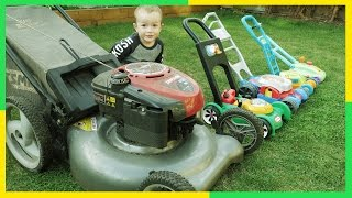 Lawn Mowers for KIDS | Toy Lawn Mowers vs Real Lawn Mower | YARD Work FUN with Brothers R Us! 4K!