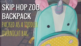 Skip Hop Little Kid Zoo Backpack Packed as a Toddler Overnight Bag // Momma Alia