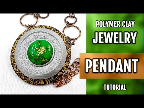DIY Polymer Clay Pendant with Faux Jade Gemstone. How to make stylish Pendant. VIDEO Tutorial!