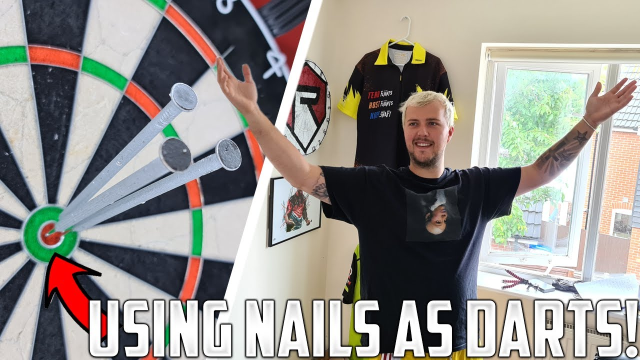 Using 9 INCH NAILS As Darts! (Very Difficult!)