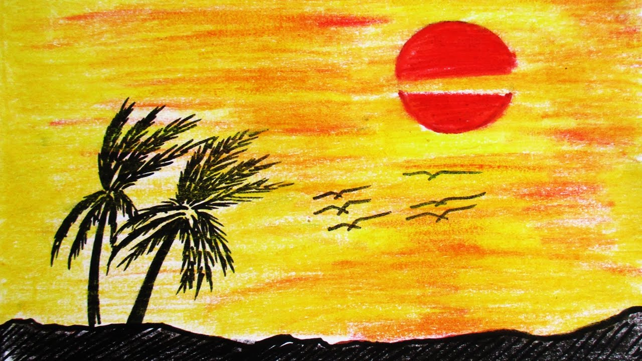 how to draw and paint sunset scenery drawing channel 34 youtube