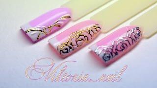 Маникюр. Дизайн литье на ногтях. Розочки и литье. Простой дизайн ногтей.