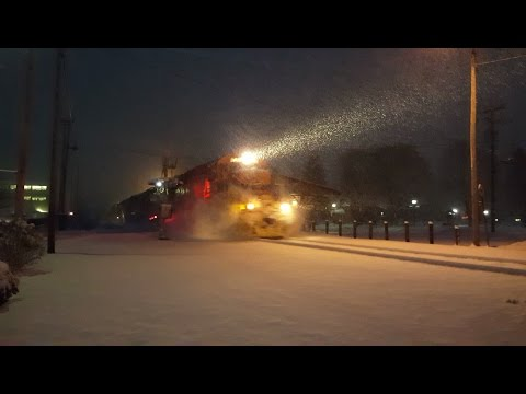 New England Central Railroad -  Headed North Through Waterbury in a Snowstorm!