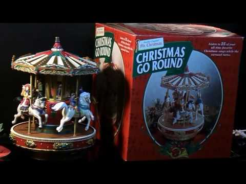 MR CHRISTMAS CAROUSEL HOLIDAY GO ROUND HORSES ANIMATED MUSICAL VINTAGE 1997