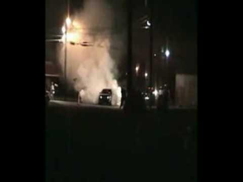 Lexus GS burnout. Smokes them until a tire pops. F