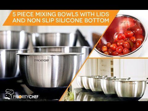 PriorityChef Premium Mixing Bowls With Lids, Inner Measurement Marks and Thicker Stainless Steel