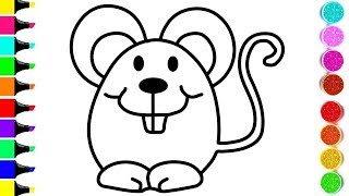 MOUSE Drawing And Coloring For KIDS ! ANIMAL Coloring Videos ! KIDS Learn Color