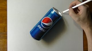 Drawing of a Pepsi can - How to draw 3D Art